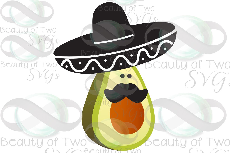 Cinco de Mayo avocado svg & png, avocado svg, sombrero svg example image 3