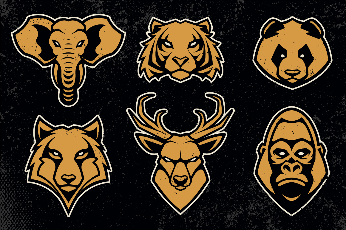 Animals Mascot Icons Vector Set example image 2