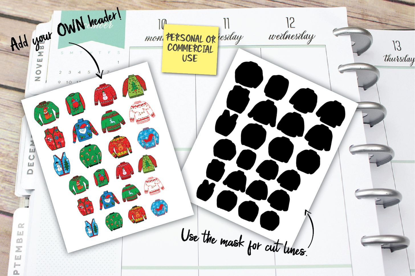 Christmas Sweater Planner Stickers example image 1