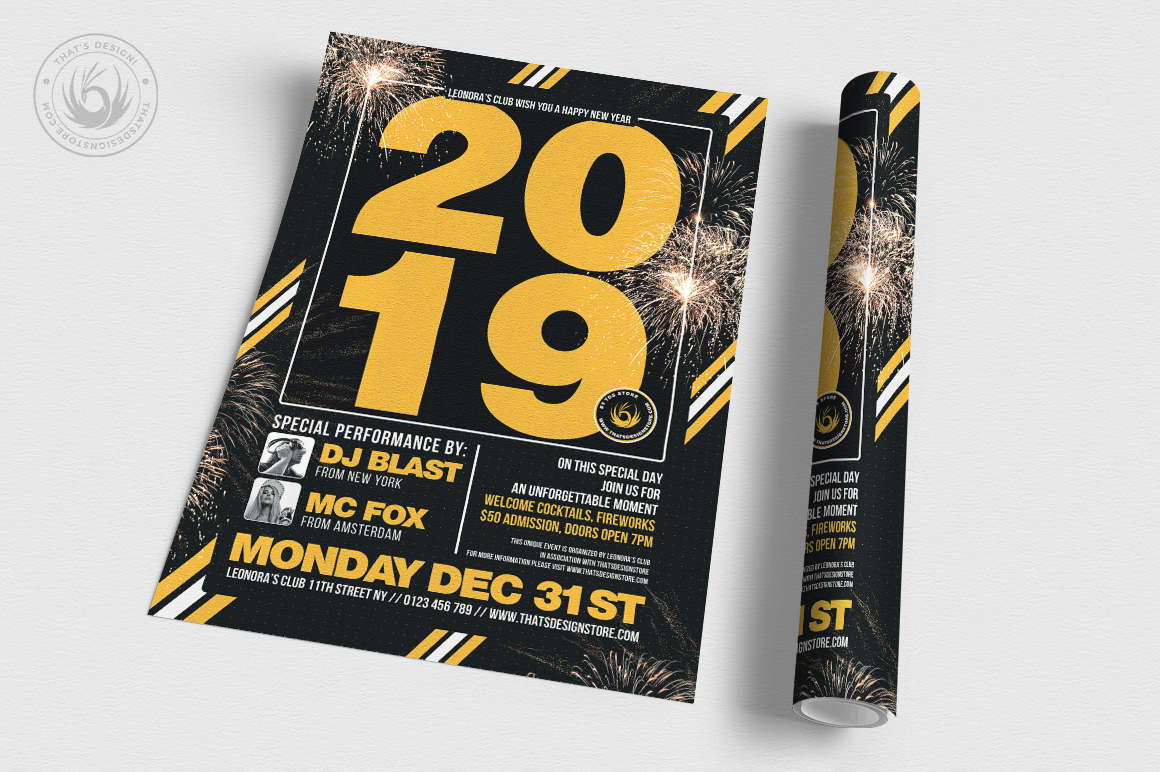 New Year Flyer Template V6 example image 3