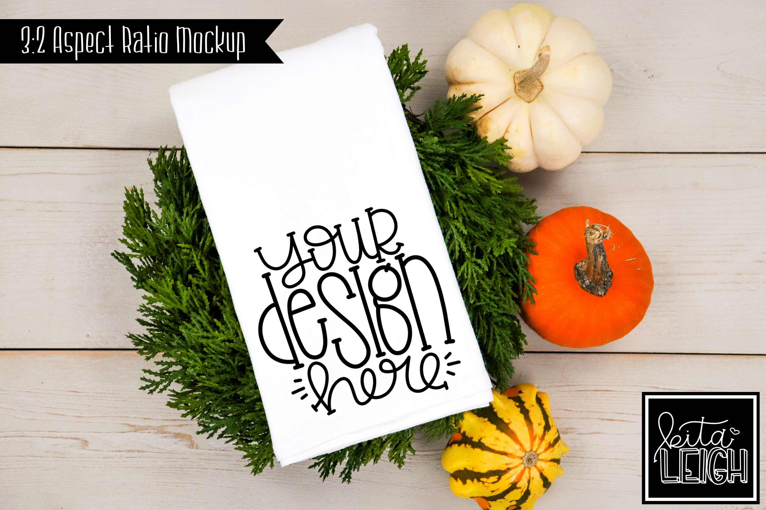 Flour Sack Tea Towel Fall Pumpkin Mockup example image 1