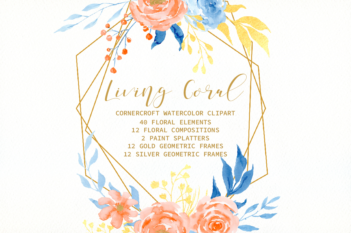 Watercolor Collection Living Coral Flowers example image 5