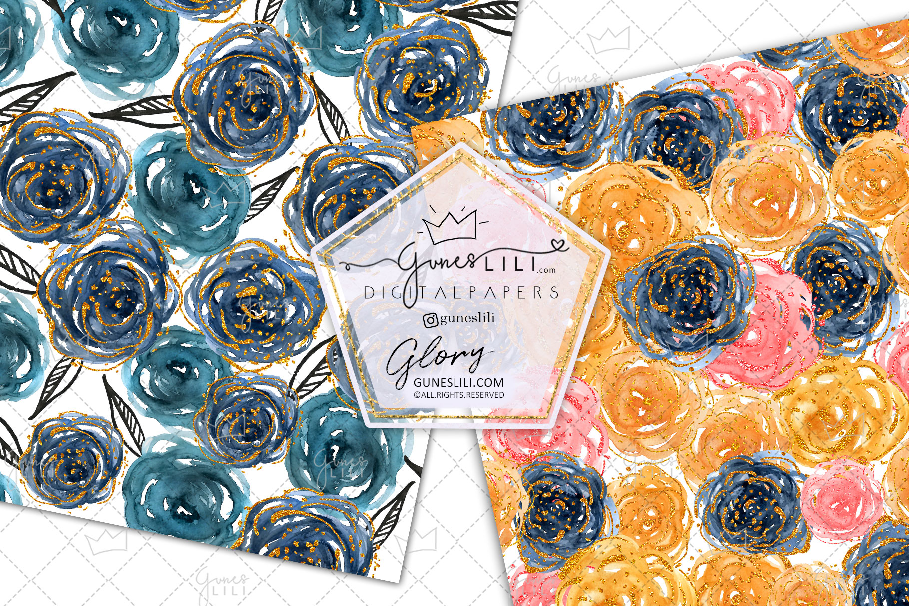 Watercolor Rose Digital Paper Pack Floral Seamless Pattern example image 4