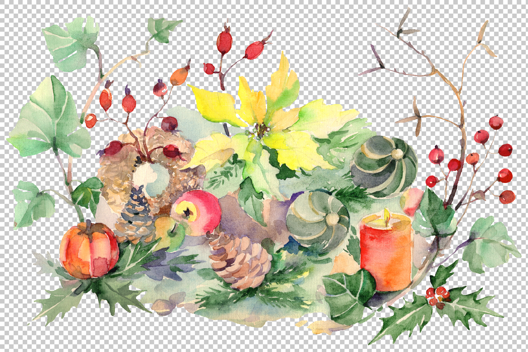 Christmas bouquet snowstorm Watercolor png example image 2