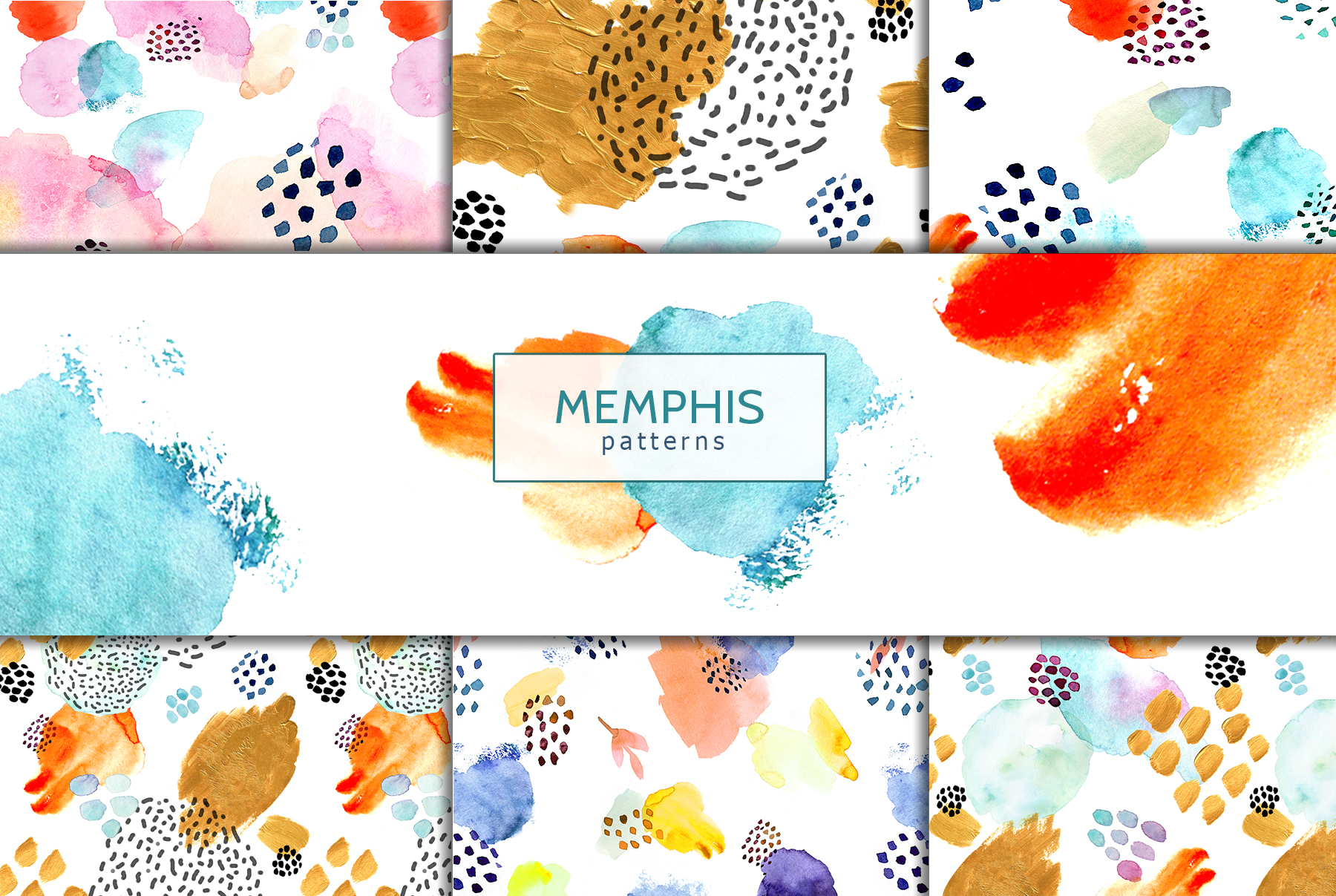 Watercolor memphis patterns & shapes example image 4