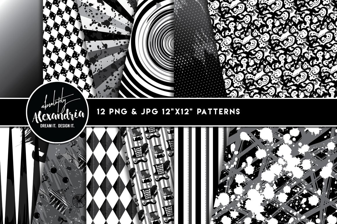 Creepy Carnival Clipart Graphics & Digital Paper Patterns Bundle example image 2