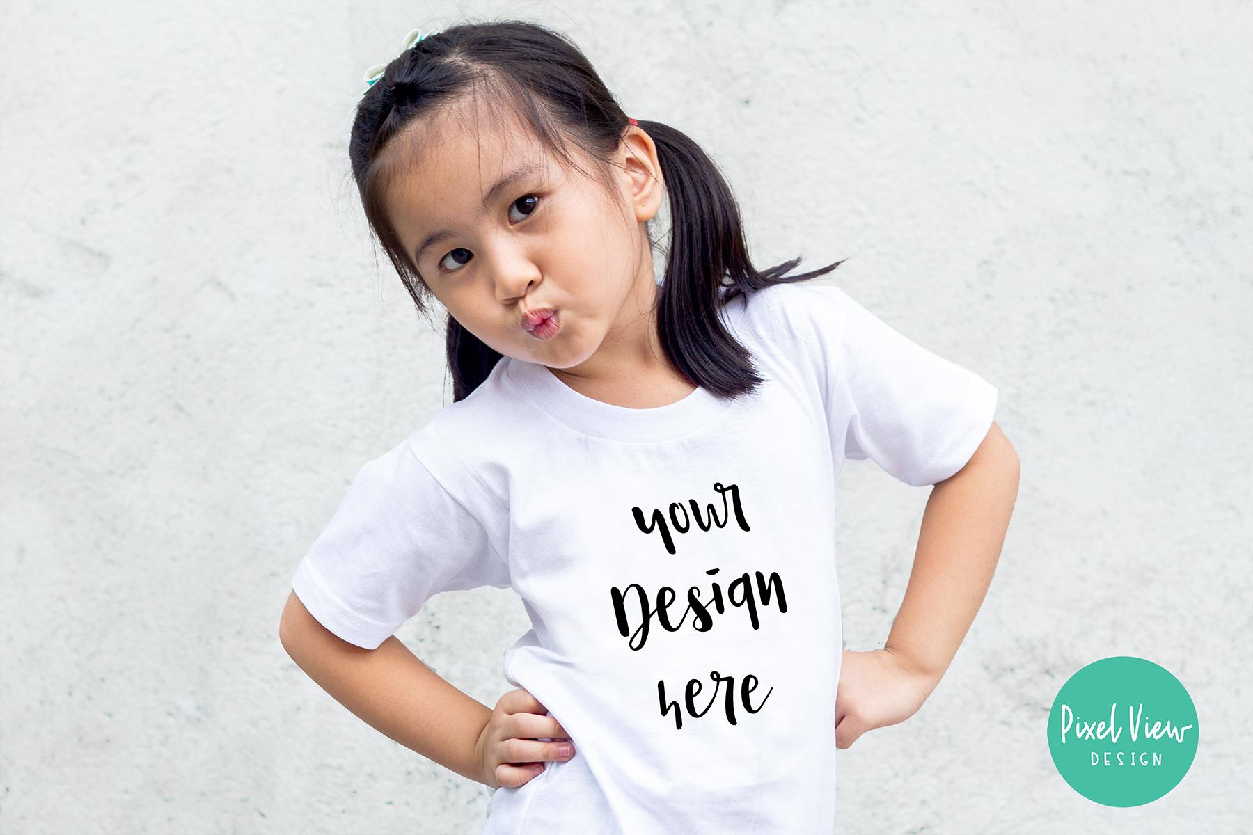 Girl's White Tshirt Mock-up example image 1