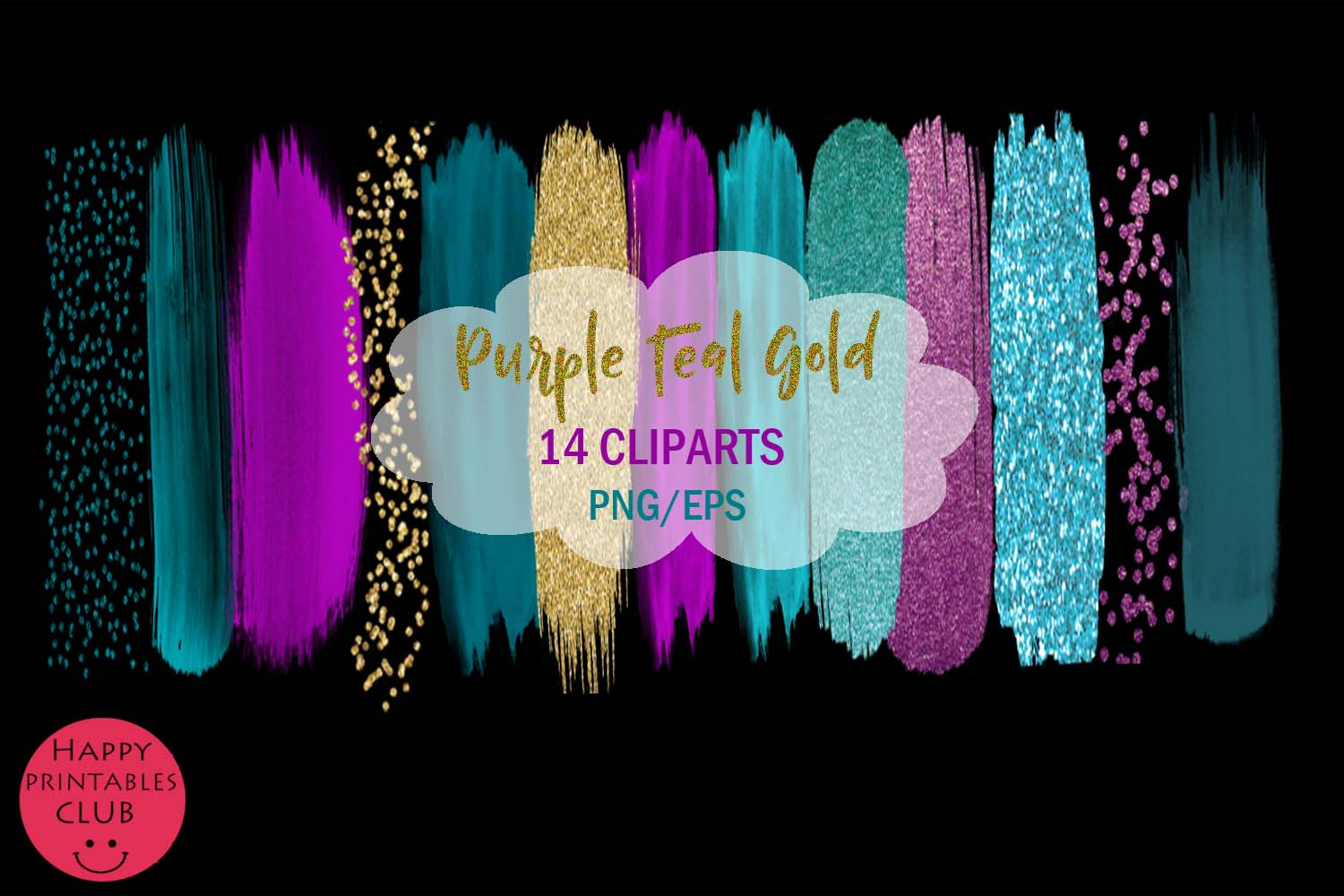 Purple Teal Gold Brush Strokes Clipart-Clipart Brush Stroke example image 2