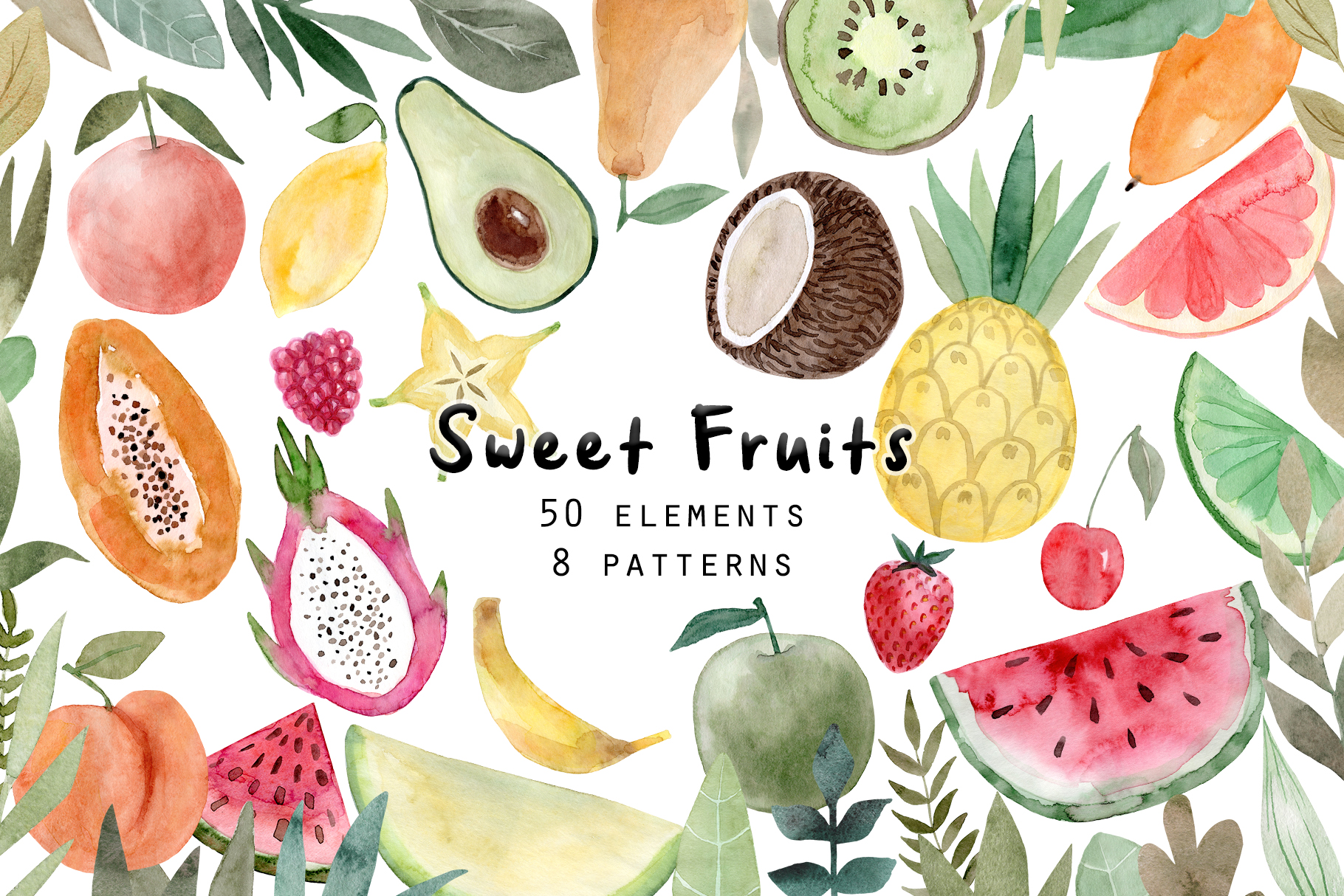 Watercolor Fruits. Patterns, Clipart example image 1
