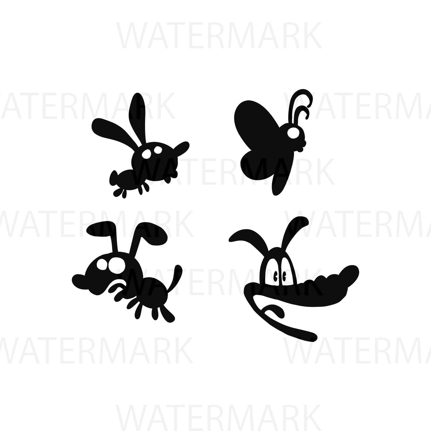 Silhouette Animals Puppy Butterfly Dog Cartoon - SVG/JPG/PNG - Hand Drawing example image 1