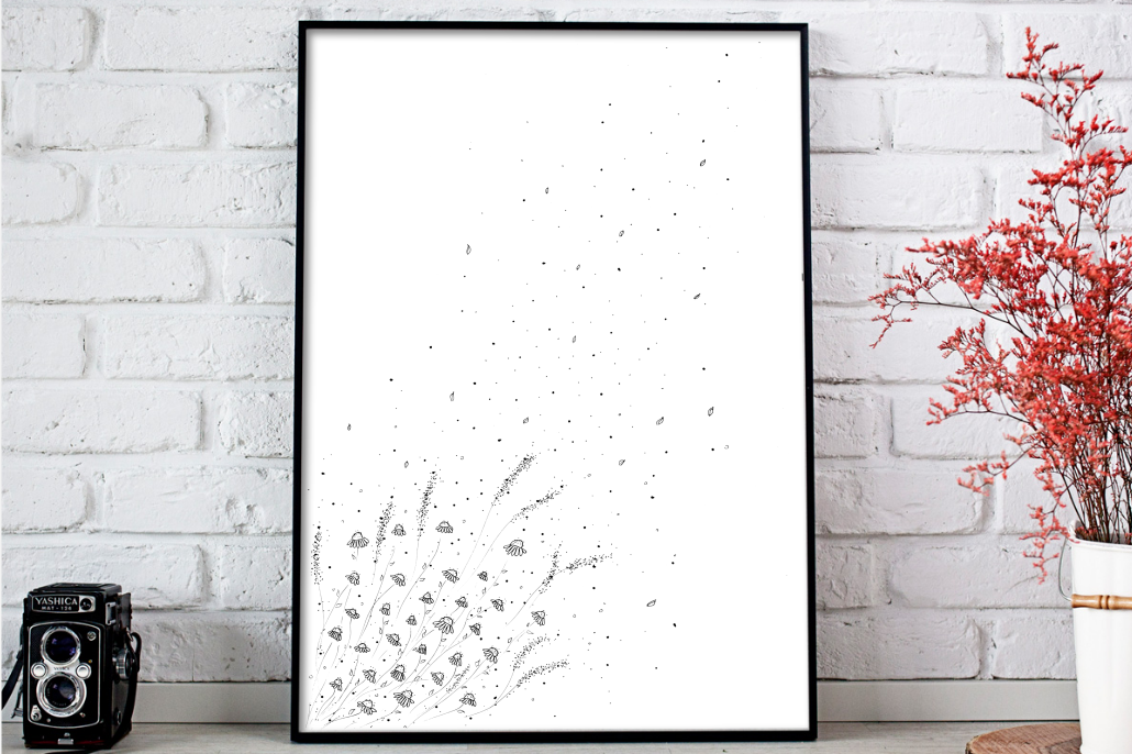 Doodle Daisies Artwork, A1, SVG example image 1