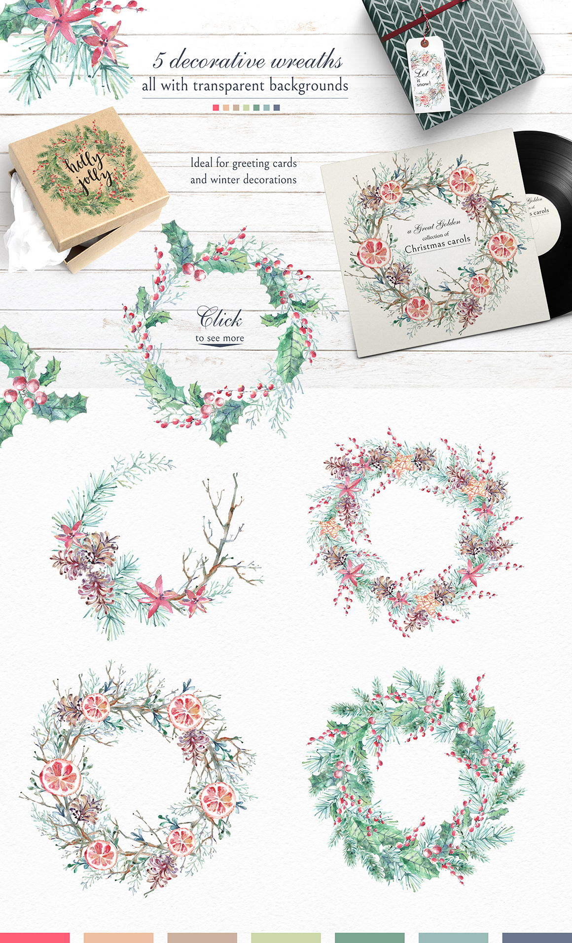Cozy CHRISTMAS. Watercolor graphic kit. example image 3