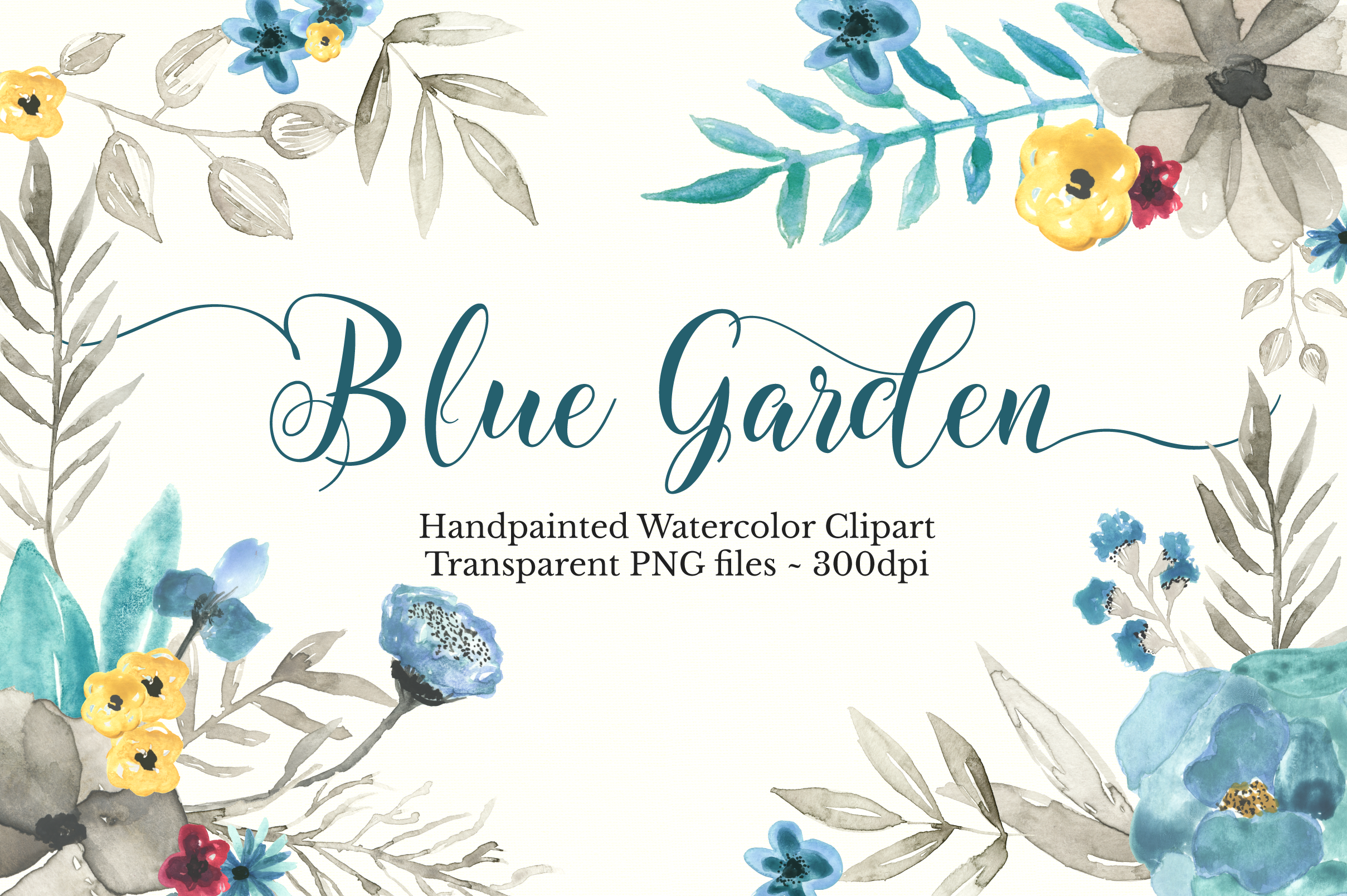 Watercolor Floral Clipart Set example image 1