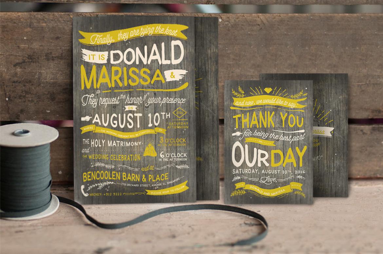Vintage Hand Lettering Wedding Invitation Vol II example image 5