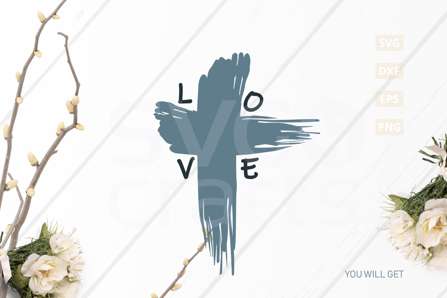 Easter Love Cross SVG Cut File, svg, dxf,eps, png example image 2