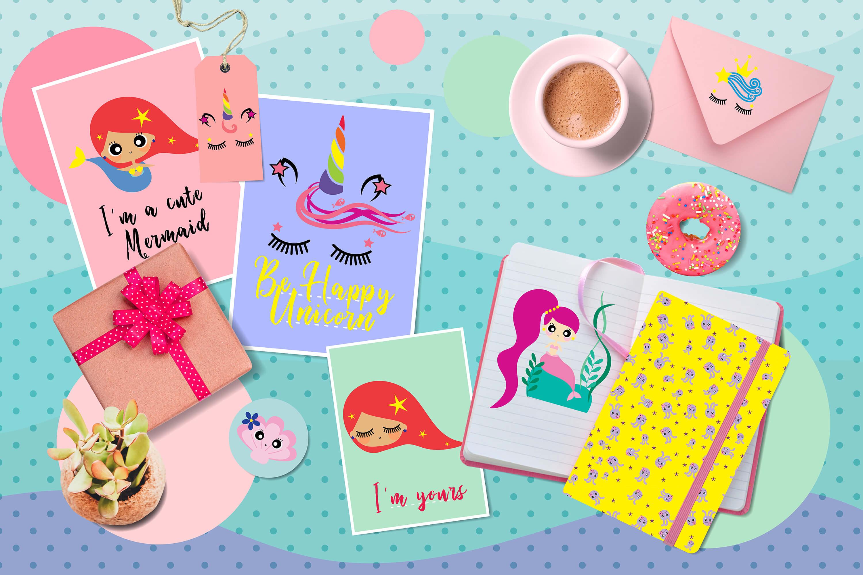 Cute mermaids & unicorns high res example image 2