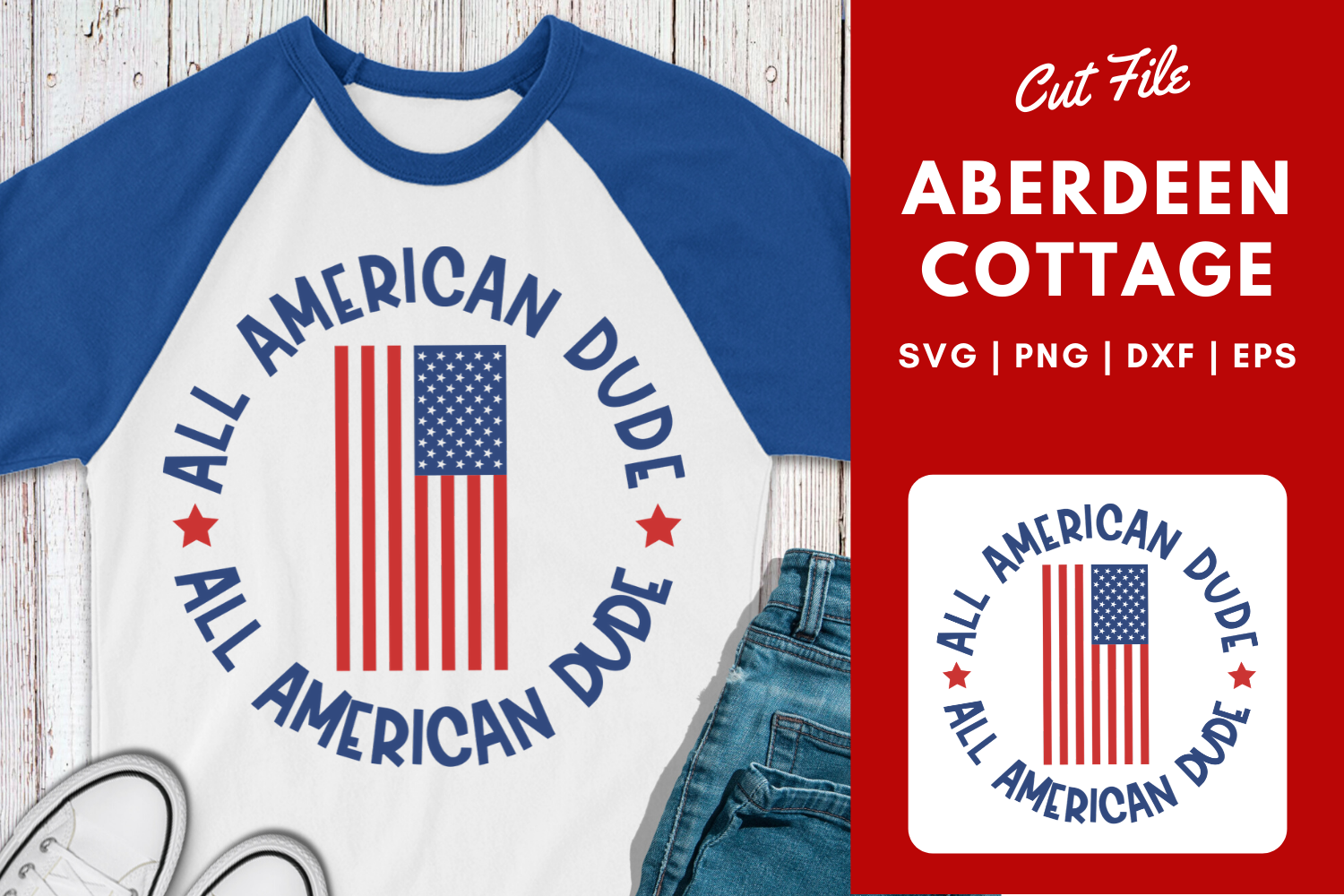 All American Dude| July 4th| Memorial Day SVG example image 1