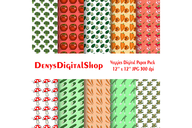 Yummy Veggies Digital Paper Pack, Carrot, Mushroom, SALE example image 2