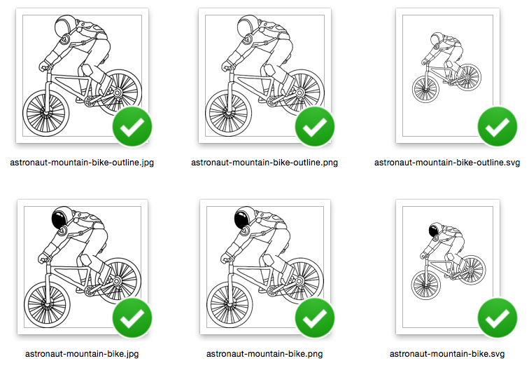 Astronaut on Mountain Bike Riding - with outline version - Color and Outline version - SVG/JPG/PNG Hand Drawing example image 2