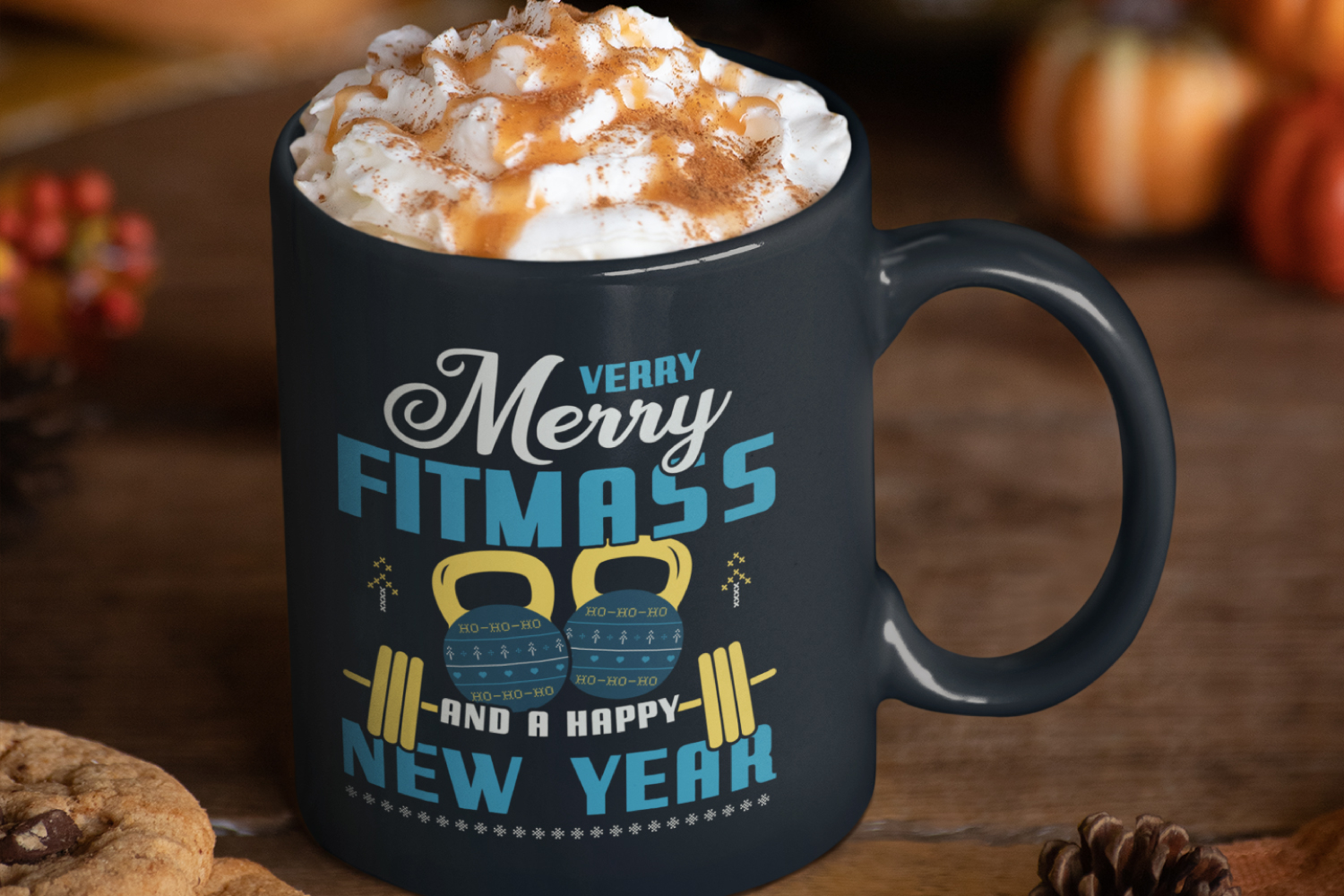 Merry Fitmass, Happy New Year Tshirt, Xmas Design SVG File example image 8