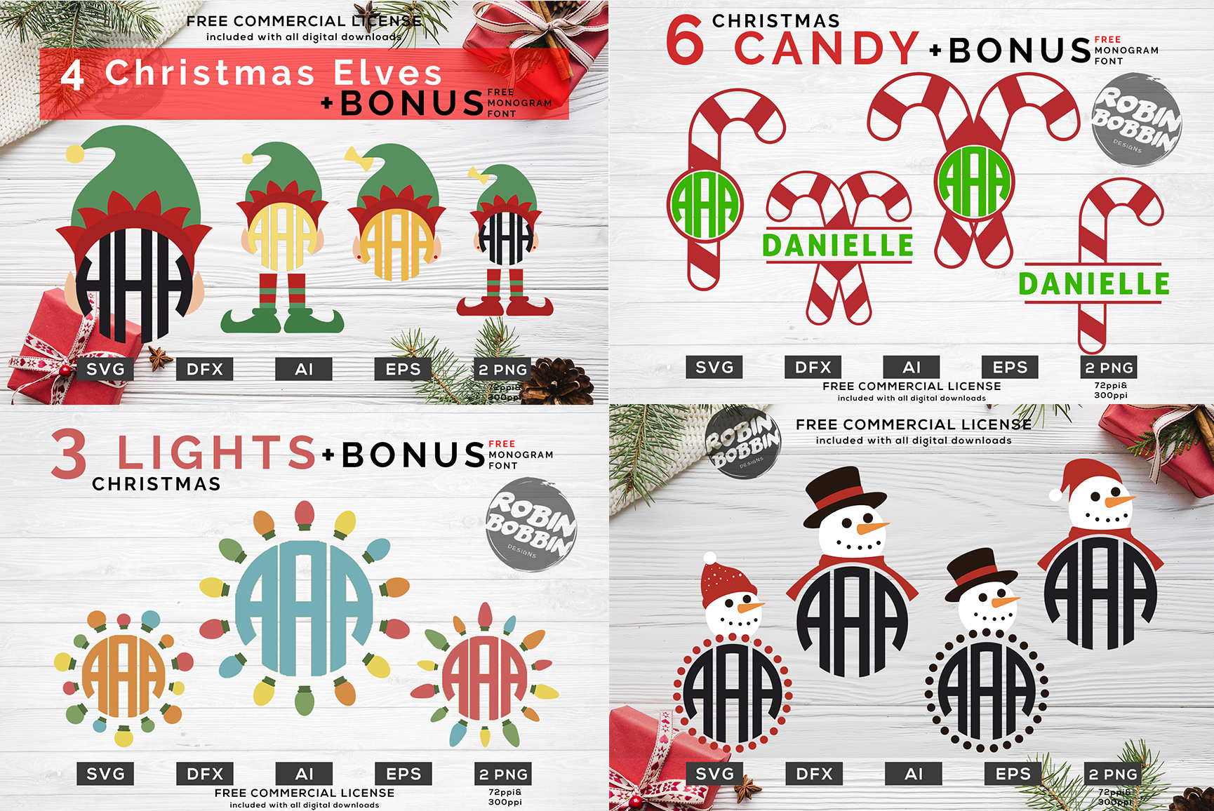 Christmas Monogram Bundle - 55 Designs For Crafters example image 2