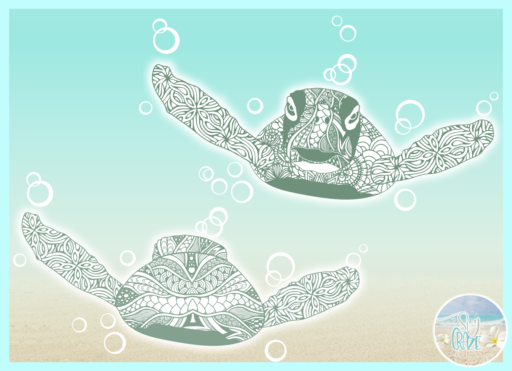 Sea Turtle Mandala Zentangle Front and Back View SVG example image 2