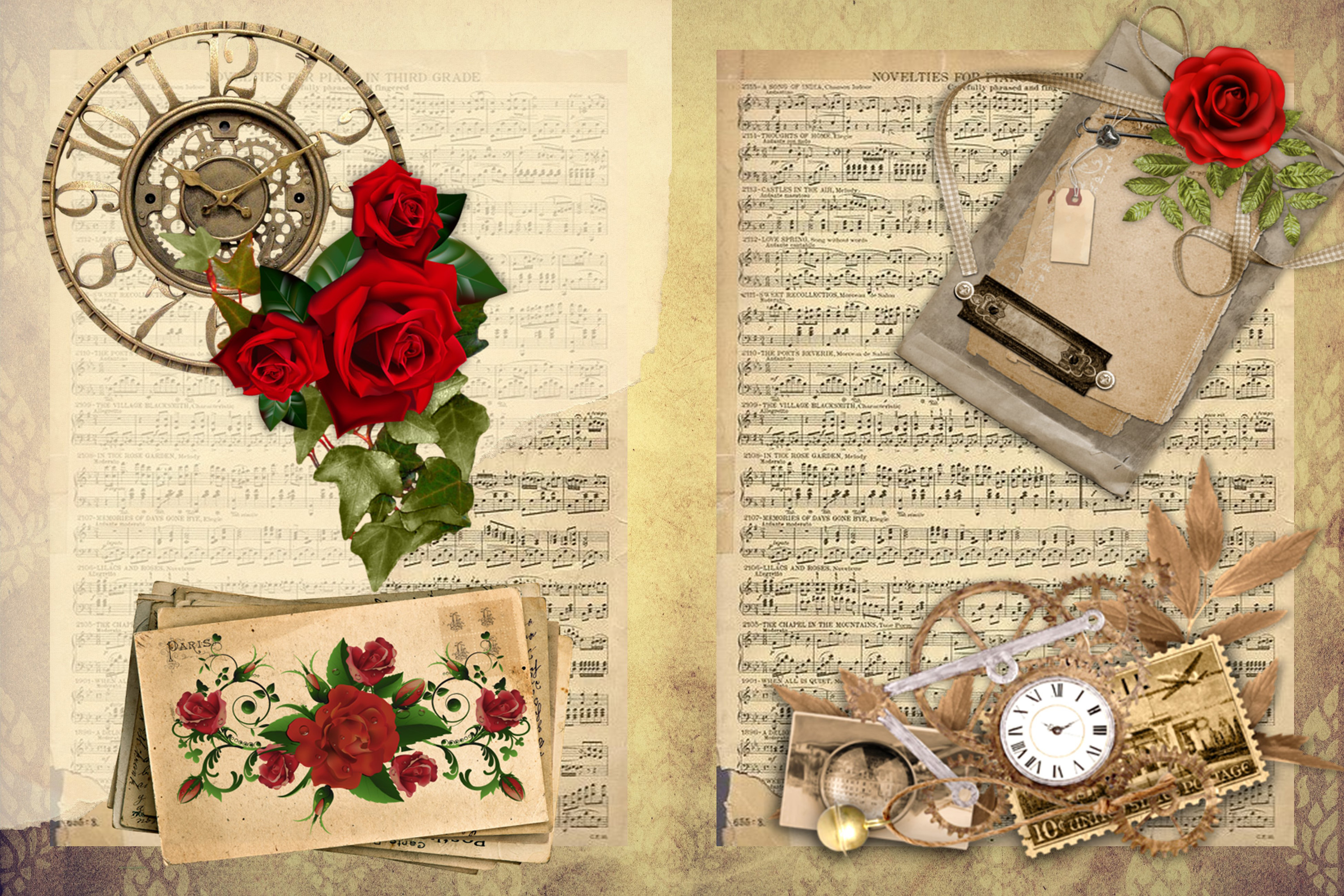 Steampunk Background set with FREE Clipart and Ephemera example image 4