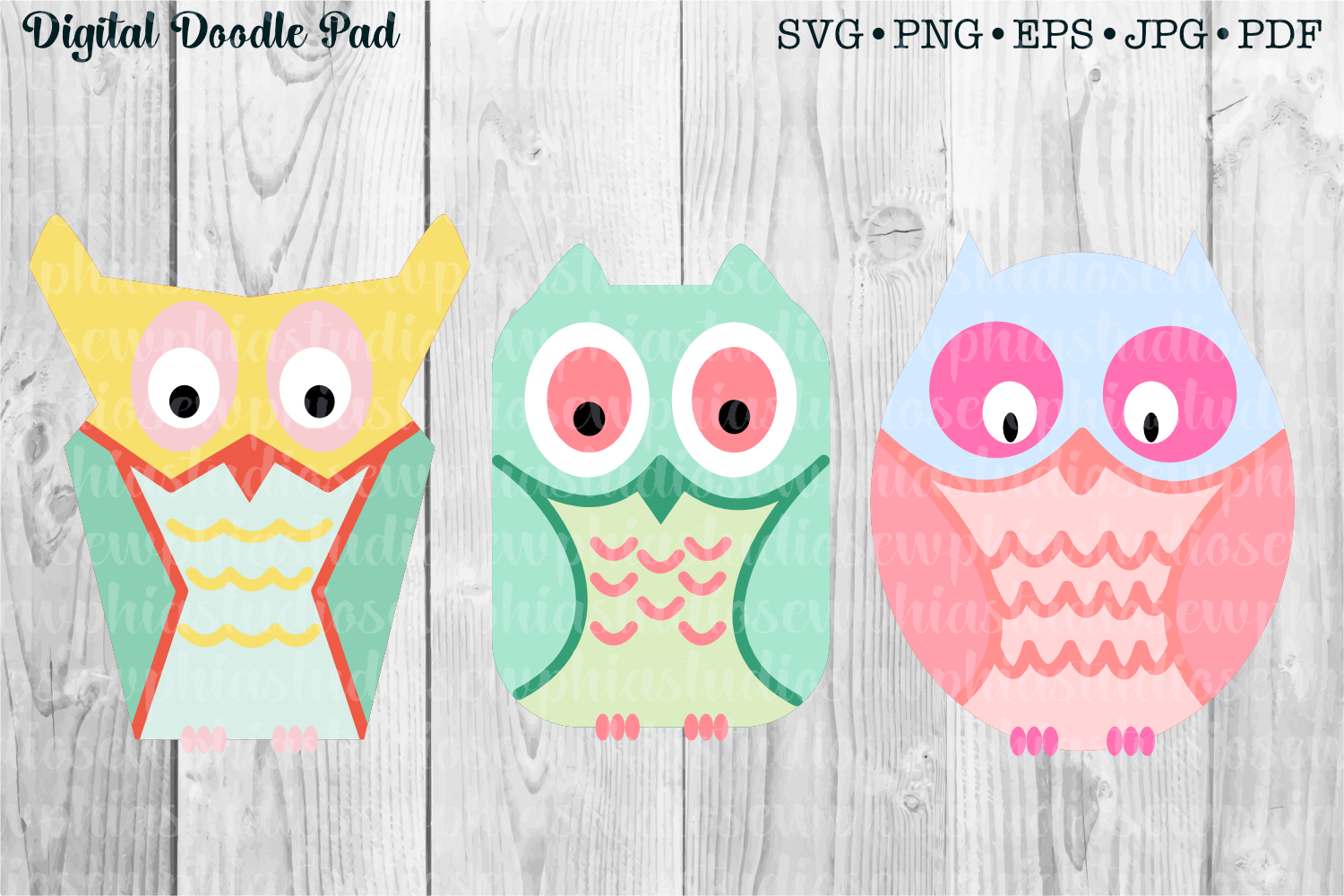 3 Owl Set by Digital Doodle Pad example image 1