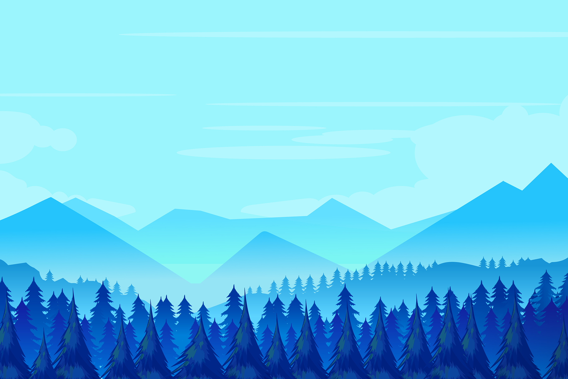 Winter mountains landscape with pine forest on foreground example image 1