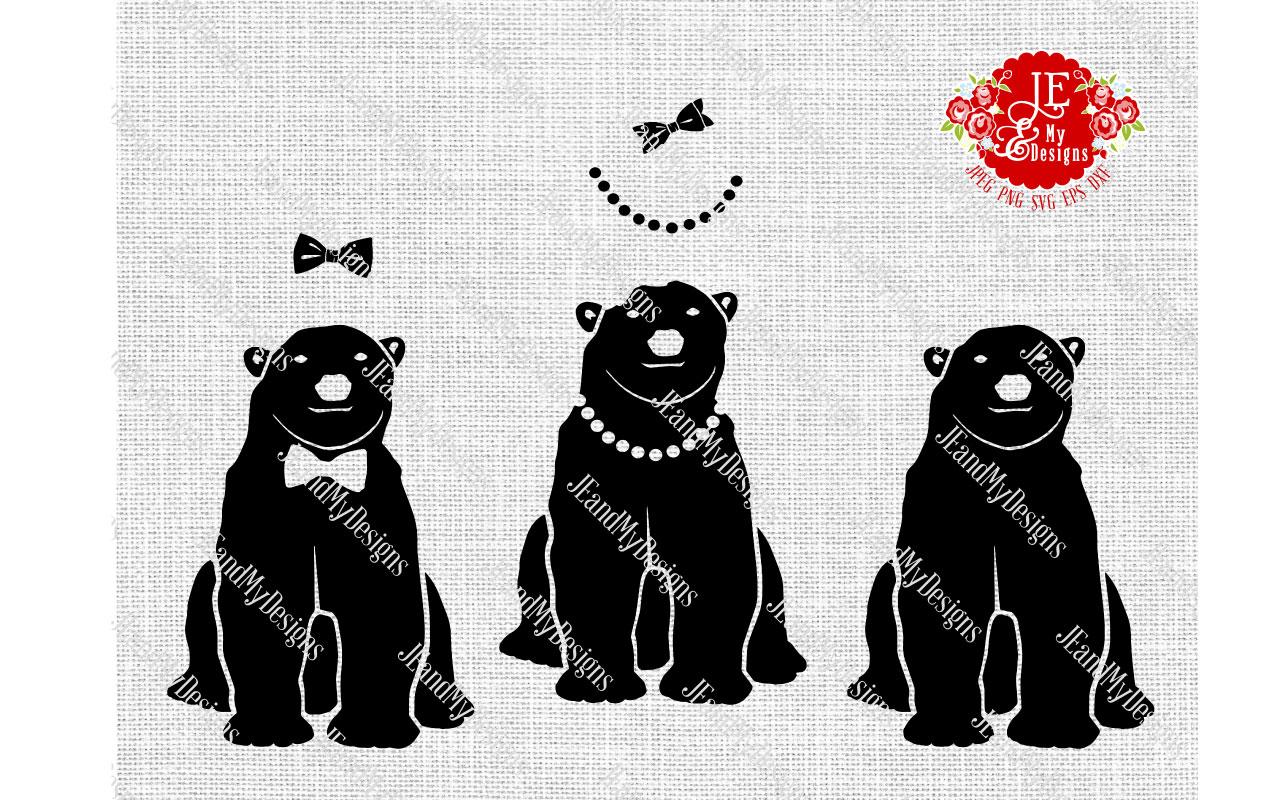 Polar Bear Trio SVG, JPEG, PNG, EPS, DXF example image 1