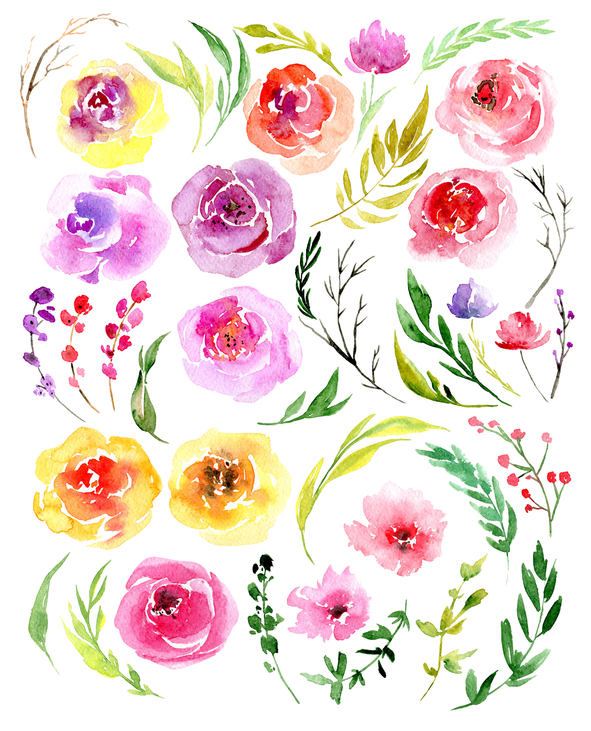 Watercolor flowers, branches, leaves example image 2