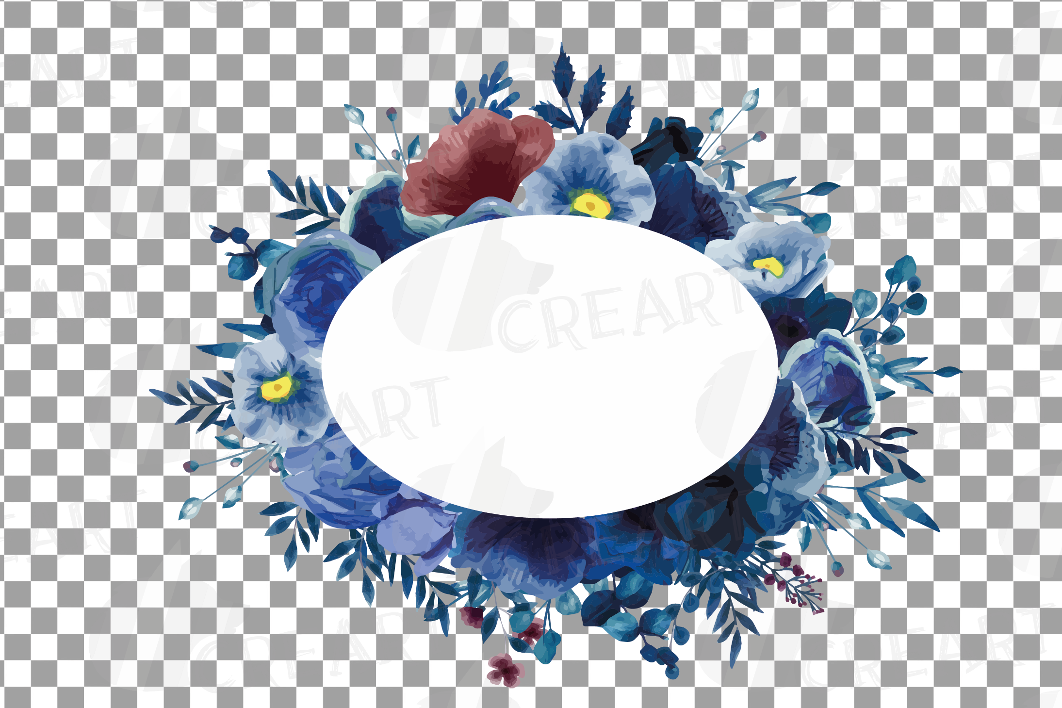Watercolor elegant navy blue and blush floral borders vector example image 28