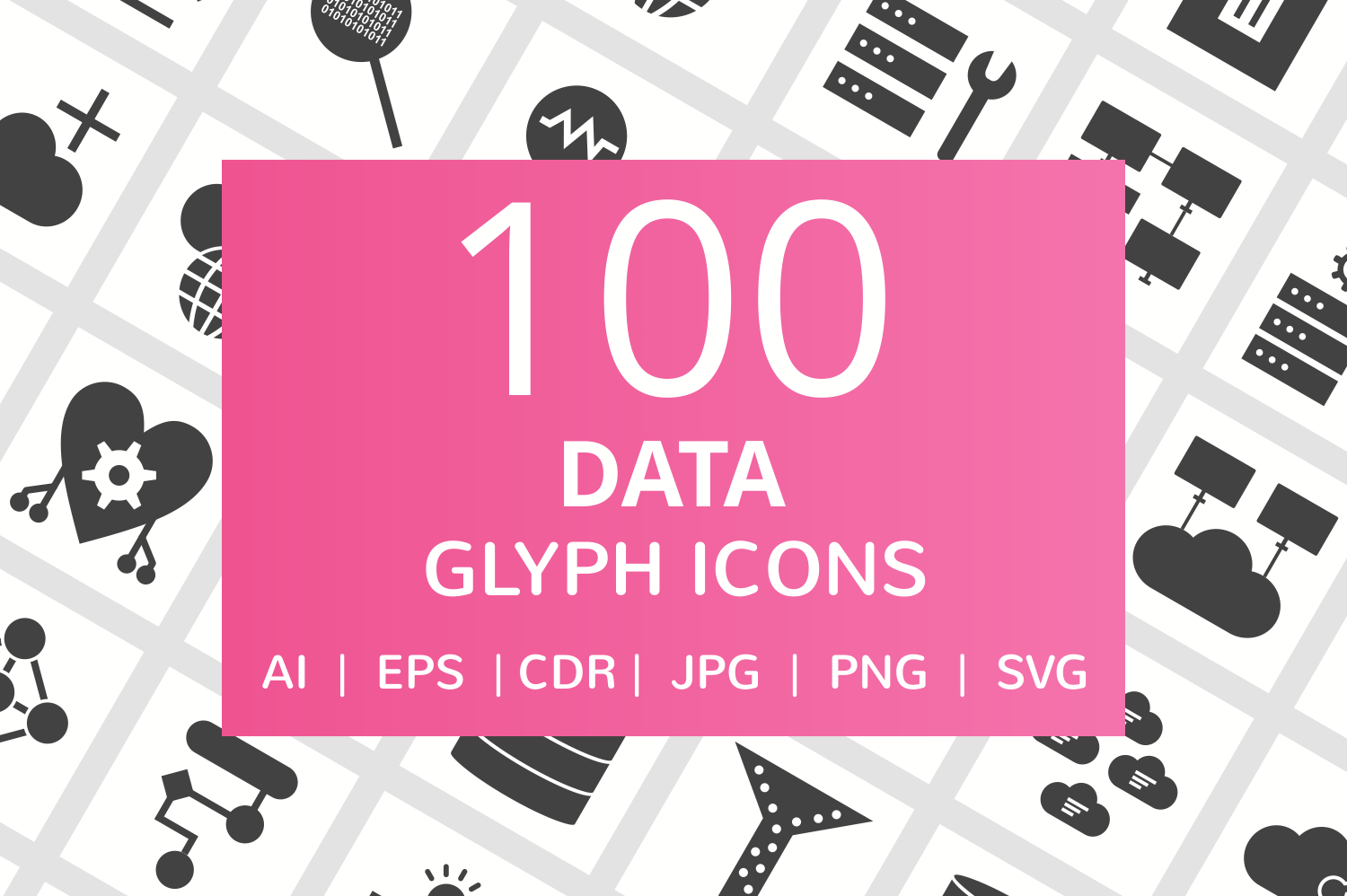 100 Data Glyph Icons example image 1