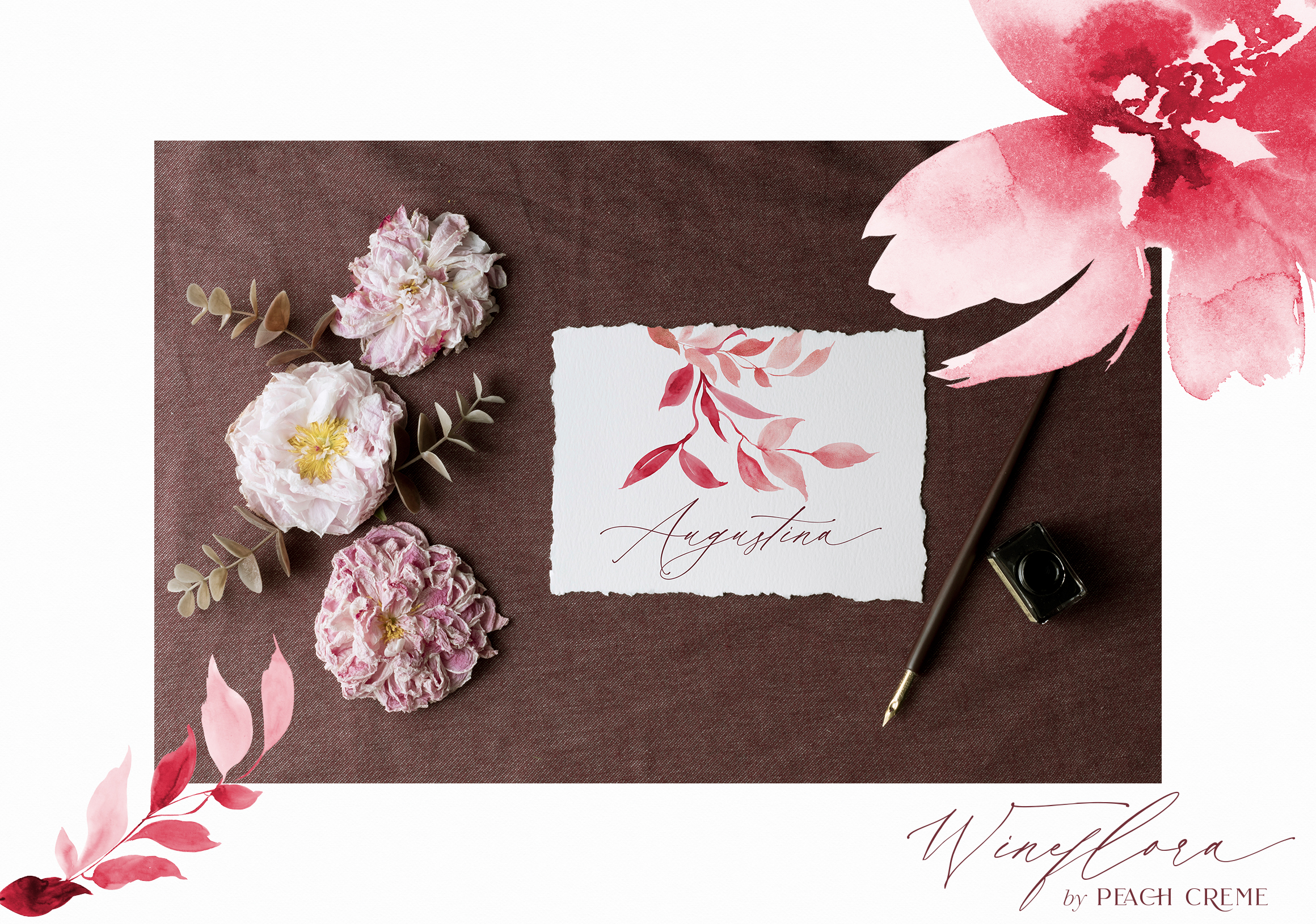 Wineflora // Watercolor Set example image 3