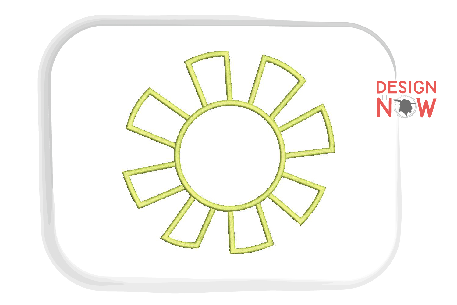 Sun Applique Embroidery Design, Flower Embroidery Pattern example image 3
