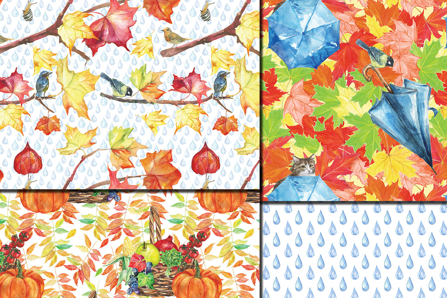 Watercolor City in fall seamless patterns example image 4