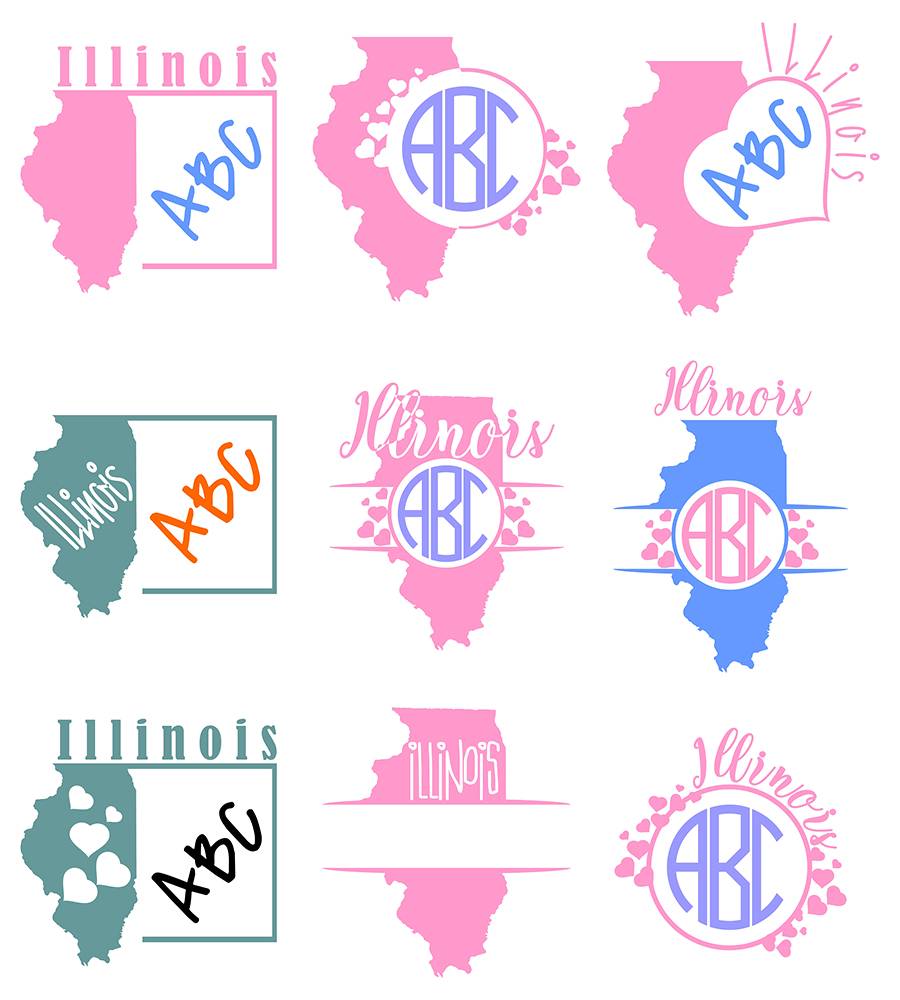 Illinois Monograms SVG, JPG, PNG, DWG, CDR, EPS, AI example image 2