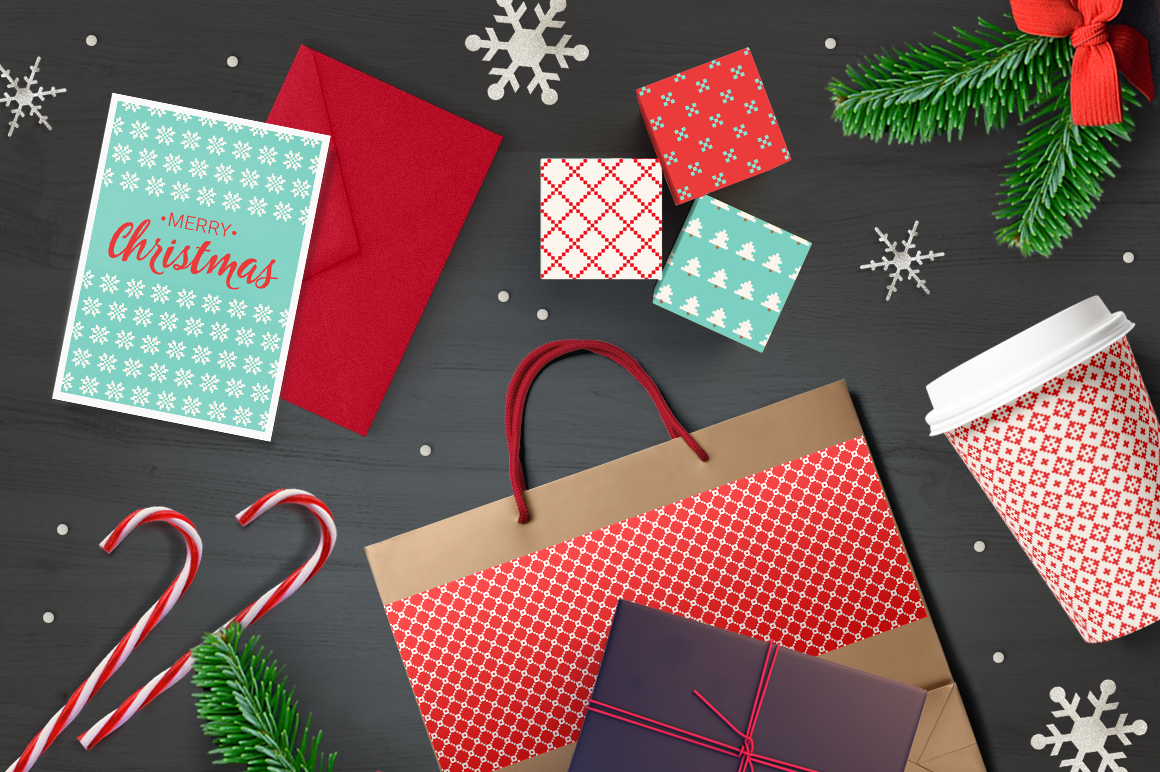 14 Christmas Pixel Seamless Patterns example image 5