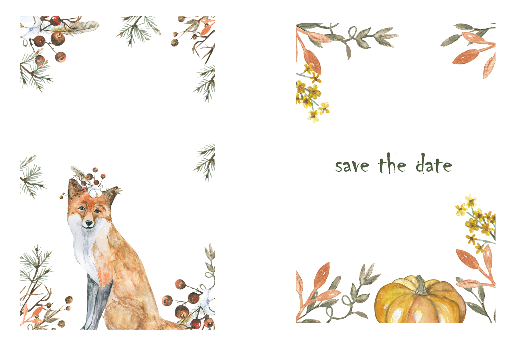 Autumn and foxes animals set example image 7