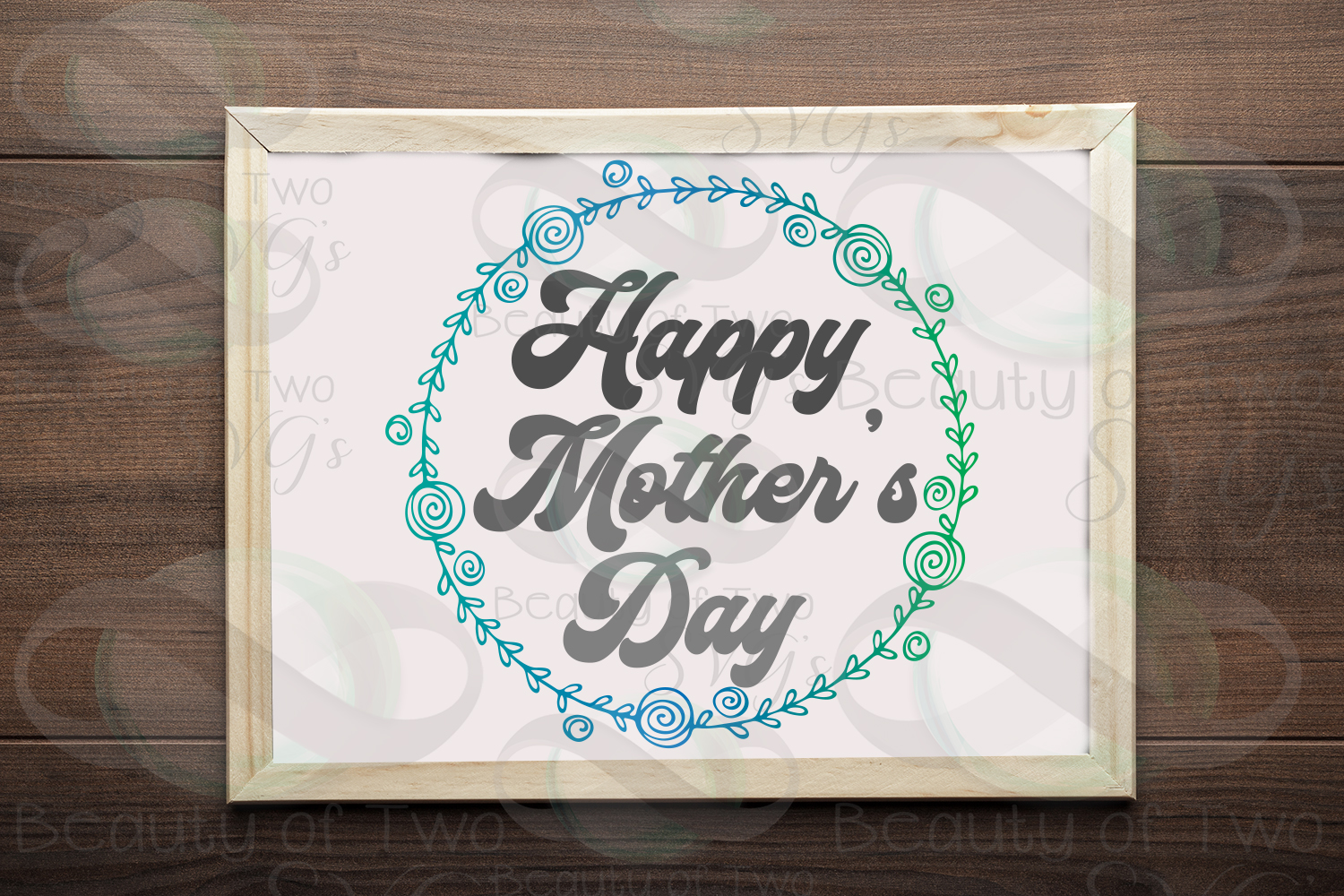Mothers Day svg, Happy Mother's Day wreath svg, Mom svg example image 1