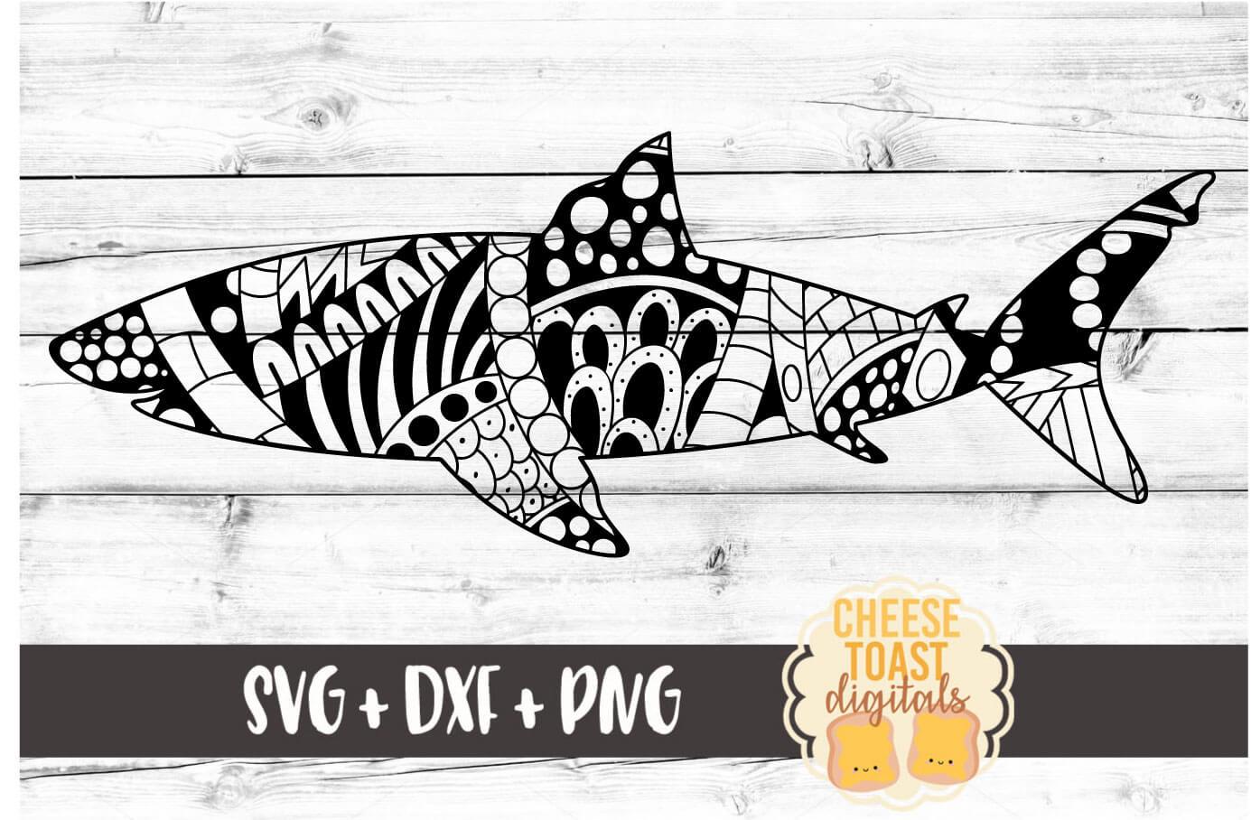 Shark - Zen Doodle Art - Ocean SVG PNG DXF Files example image 2