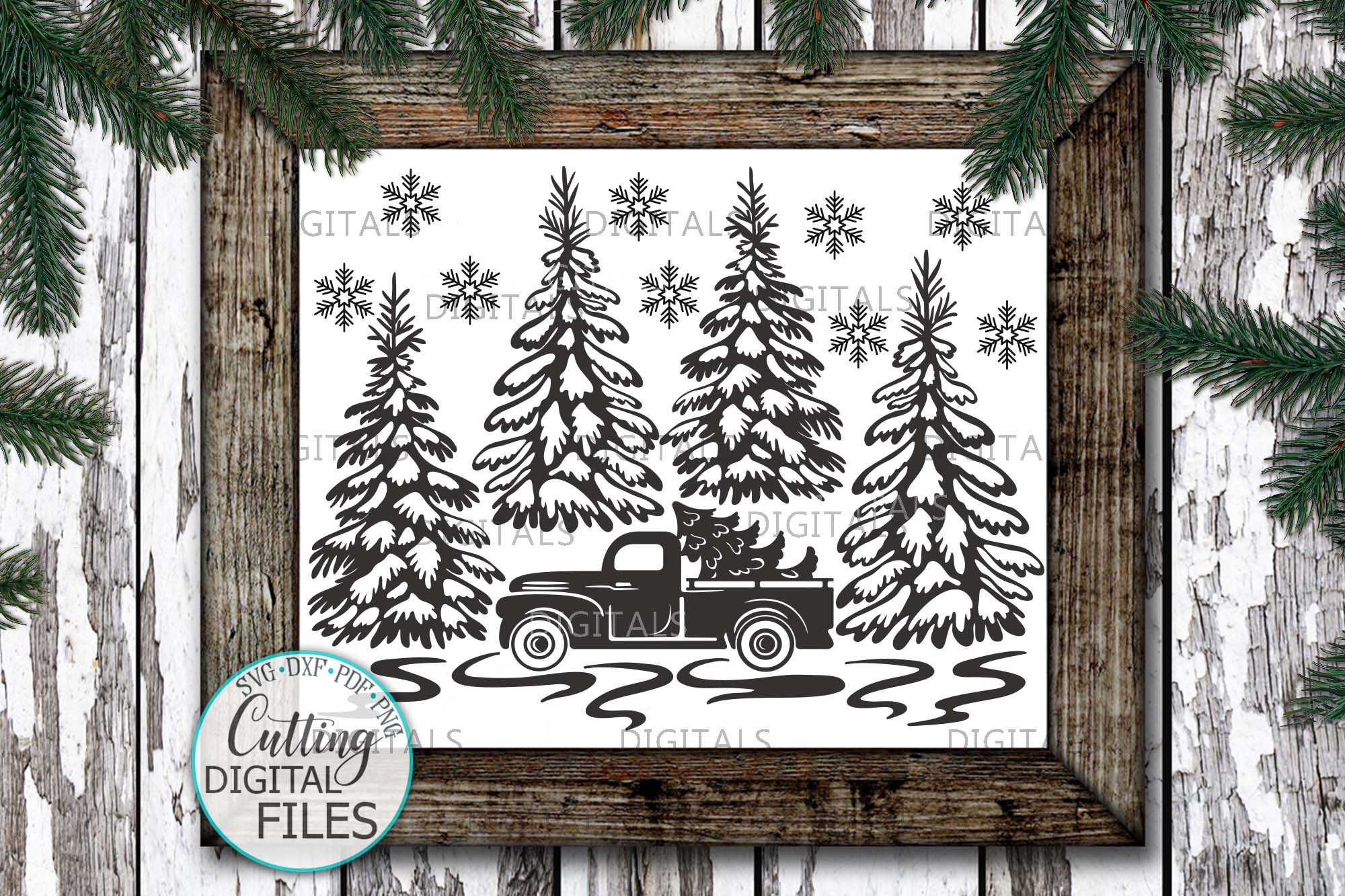 Christmas Truck with Trees Winter scene sign svg pdf design example image 3