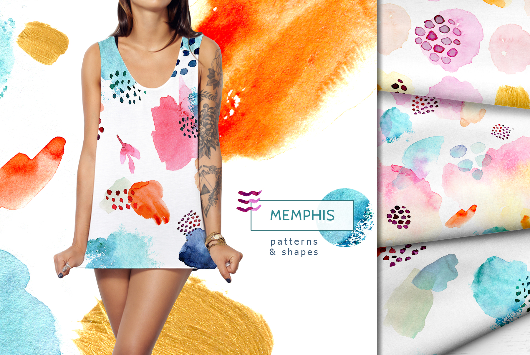 Watercolor memphis patterns & shapes example image 8