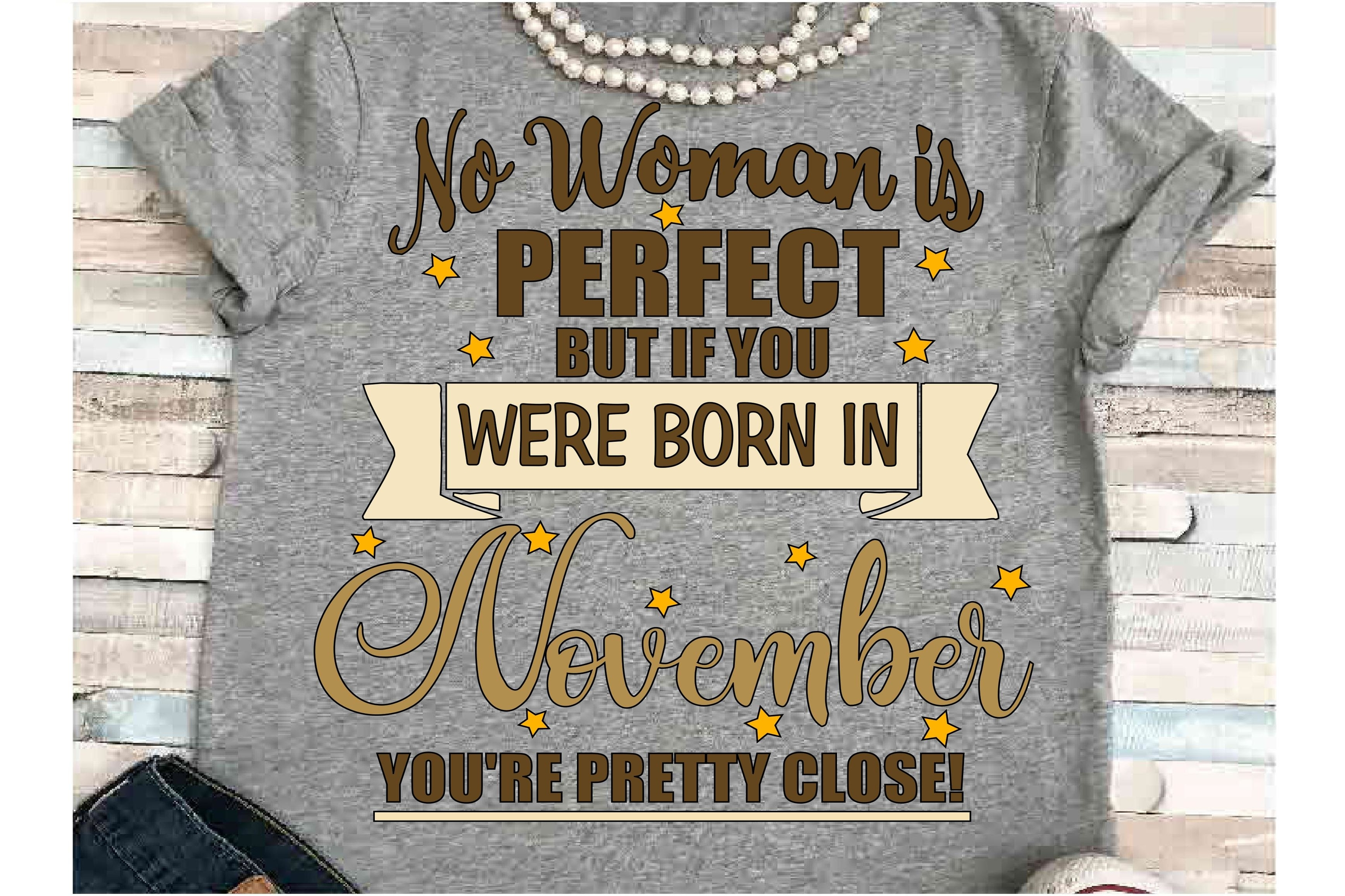 November SVG DXF JPEG Silhouette Cameo Cricut birthday girl example image 1