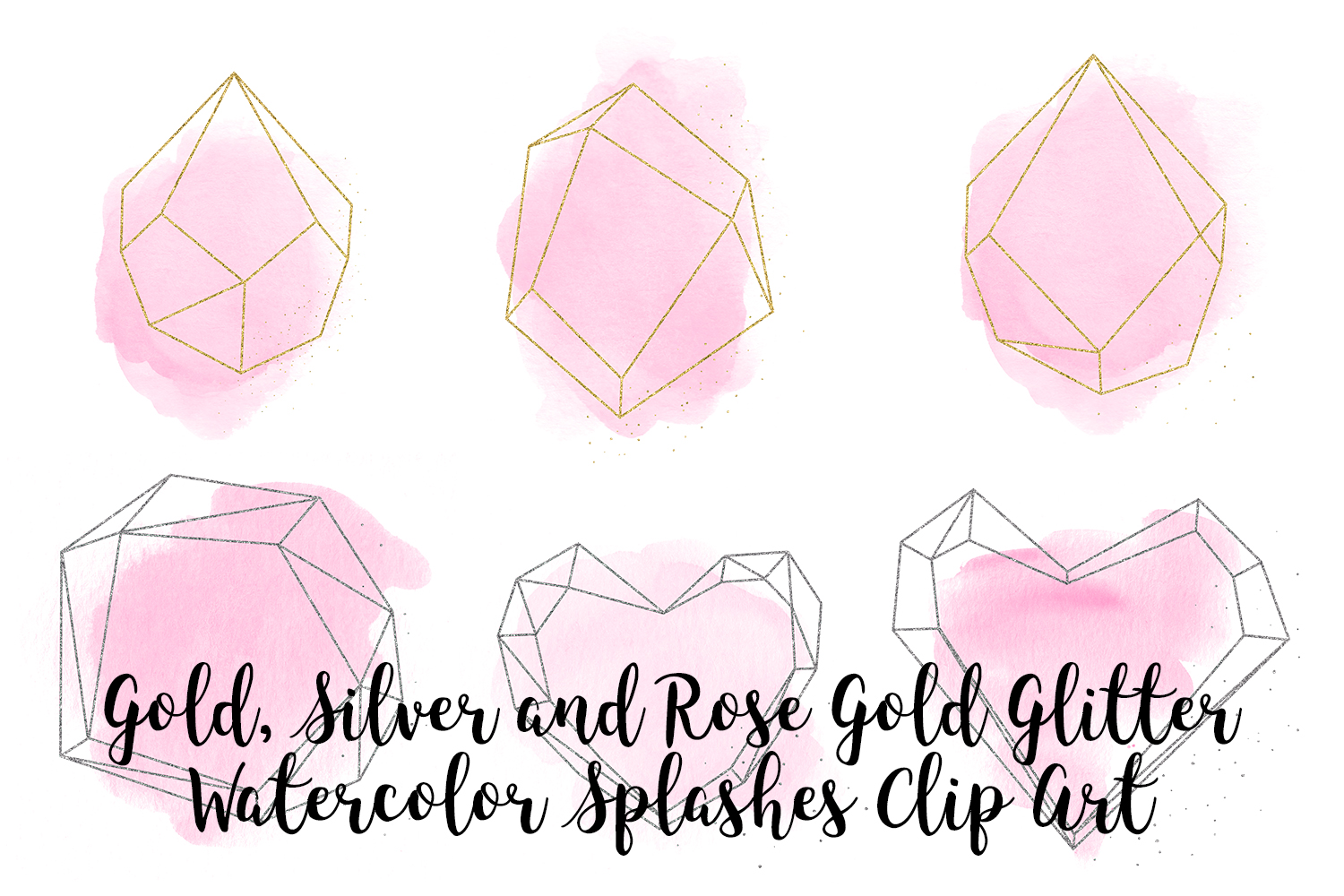 Gold, Silver and Rose Gold Crystals with Pink Watercolor example image 4