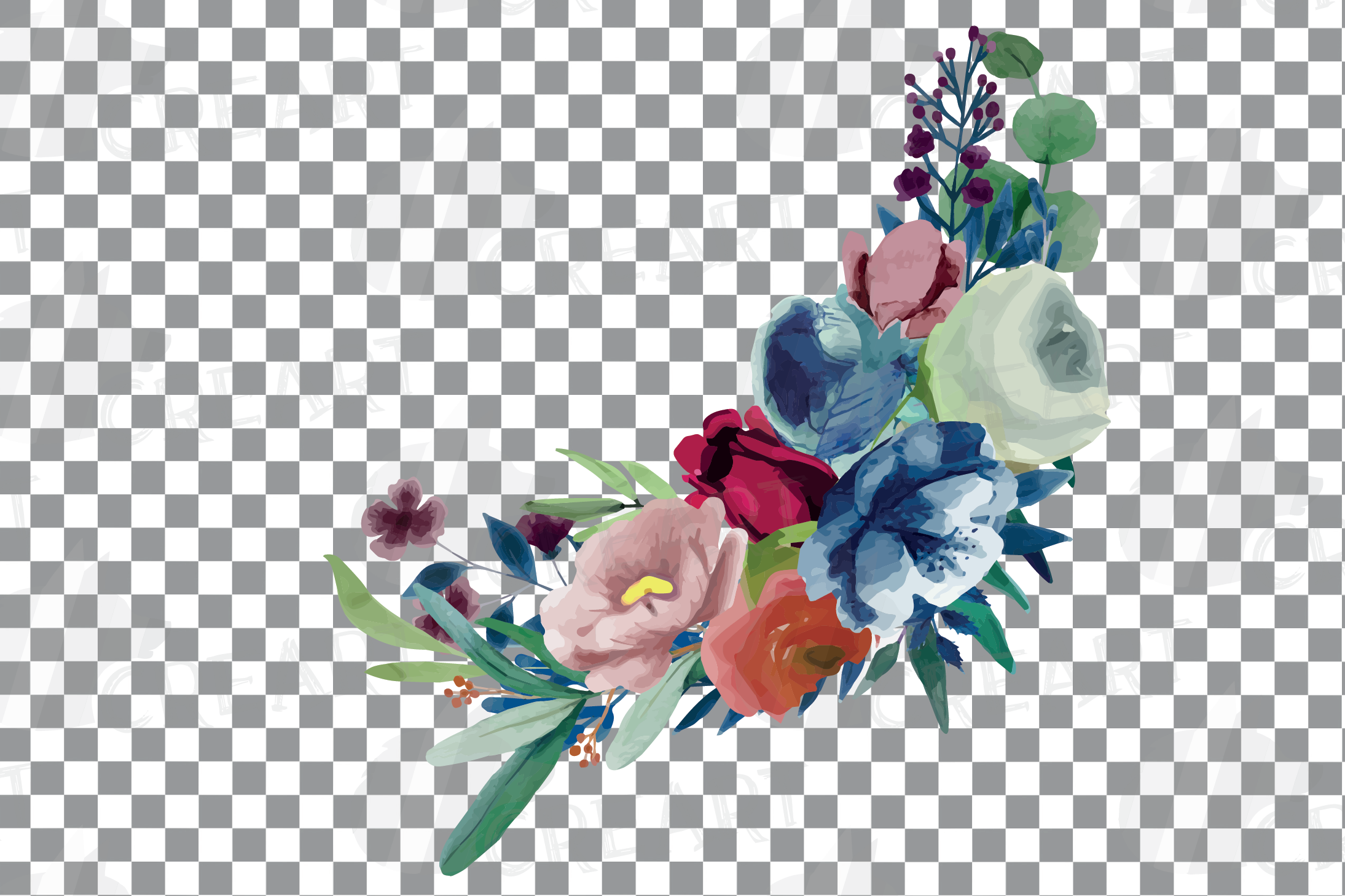 Colorful navy and burgundy floral watercolor wedding bouquet example image 14
