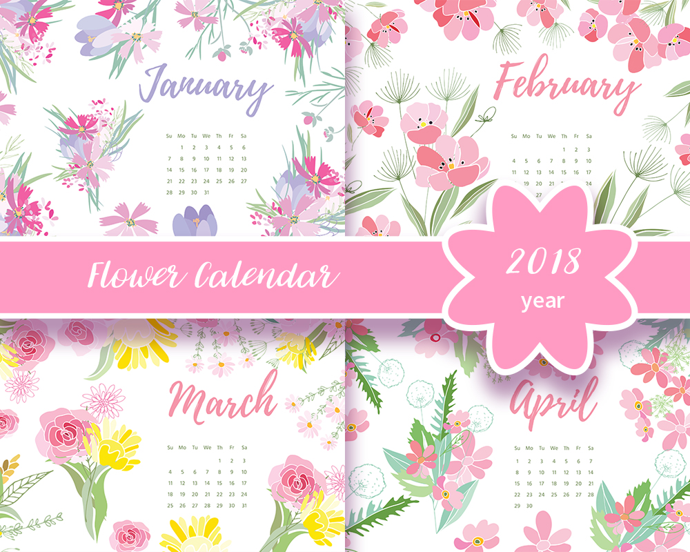 Flower Calendar 2018 Year