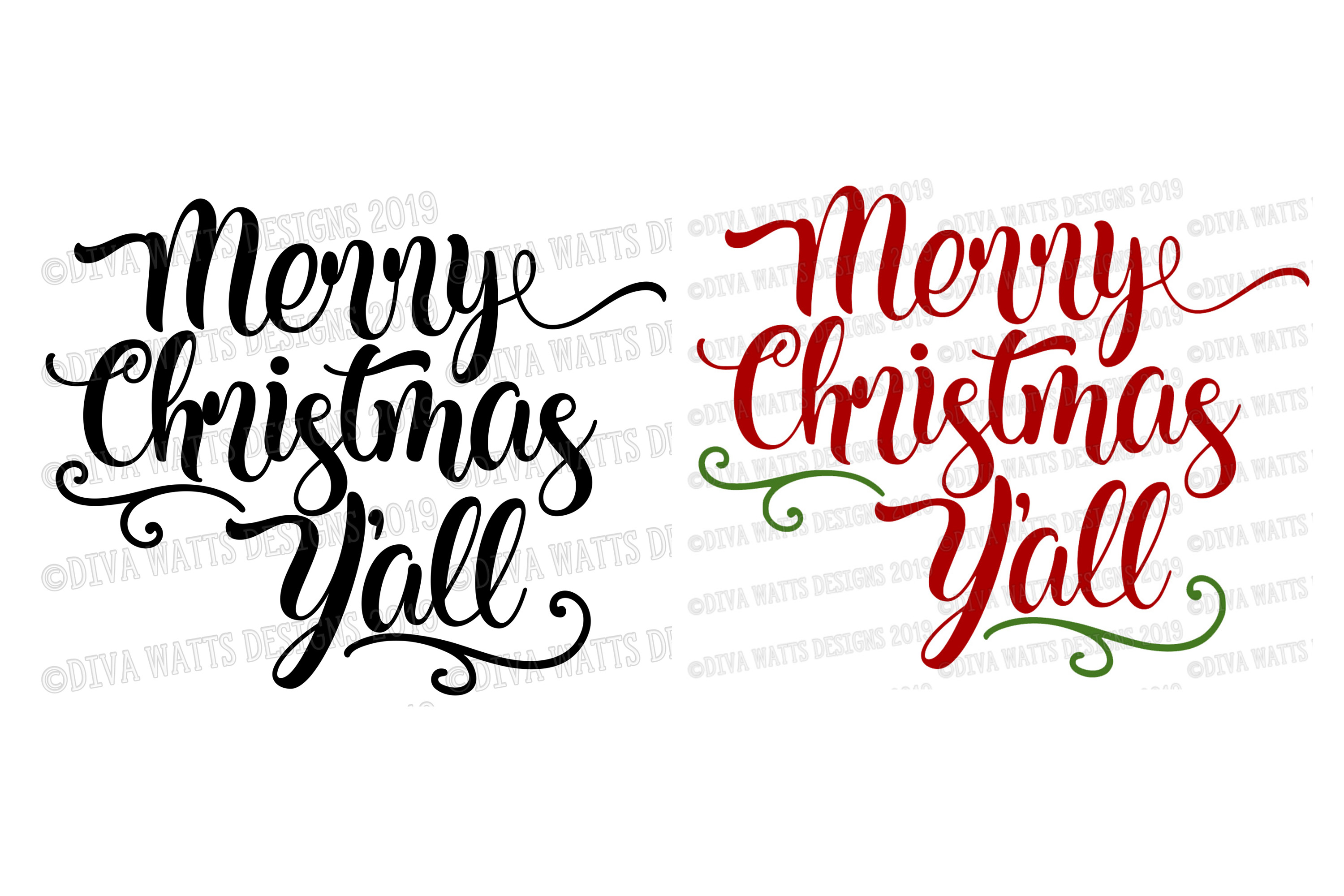 Merry Christmas Y'all Cutting File example image 2