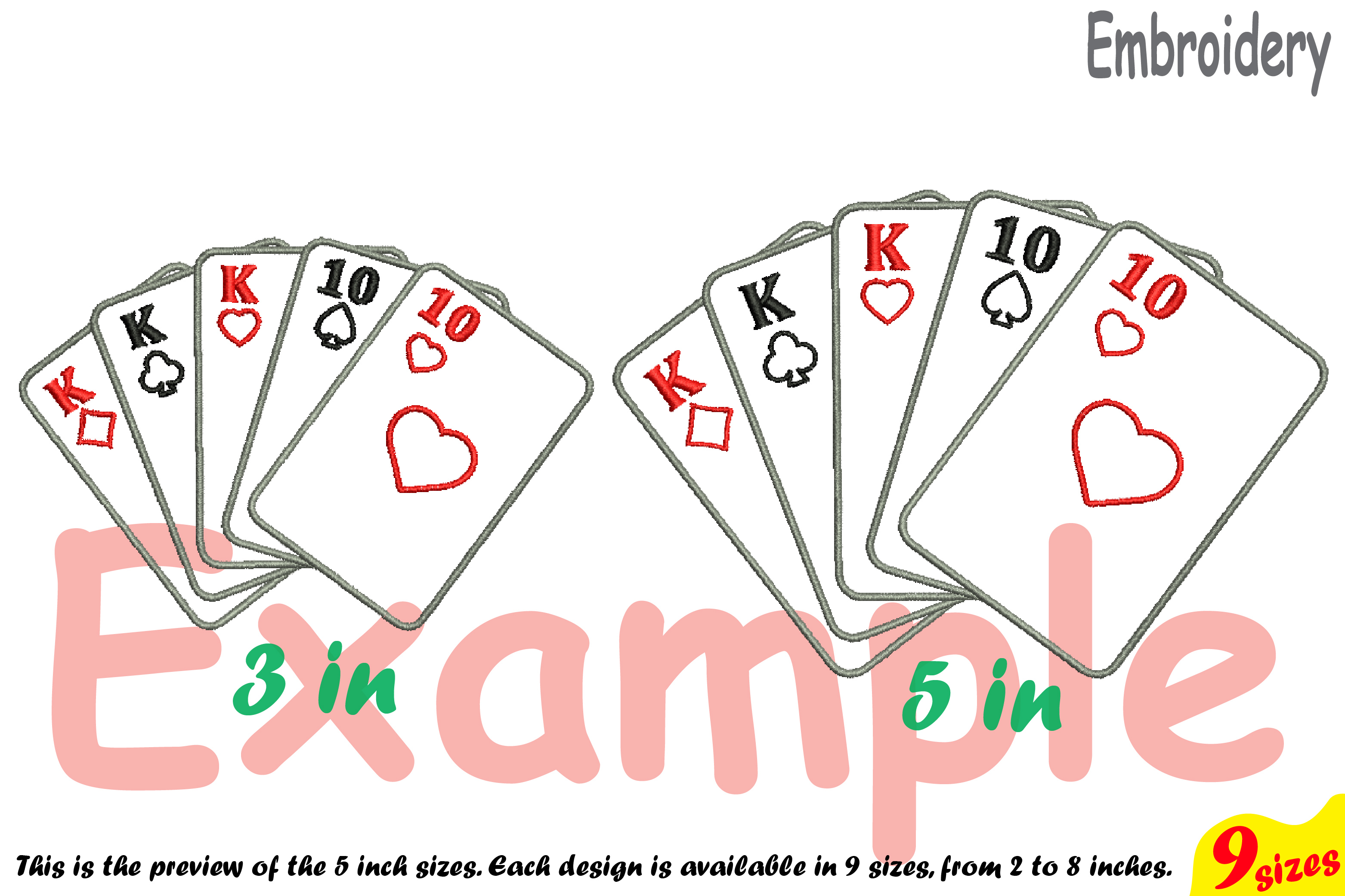 Poker Full House Designs for Embroidery Machine Instant Download Commercial Use digital file 4x4 5x7 hoop symbol sign casino las vegas 200b example image 3