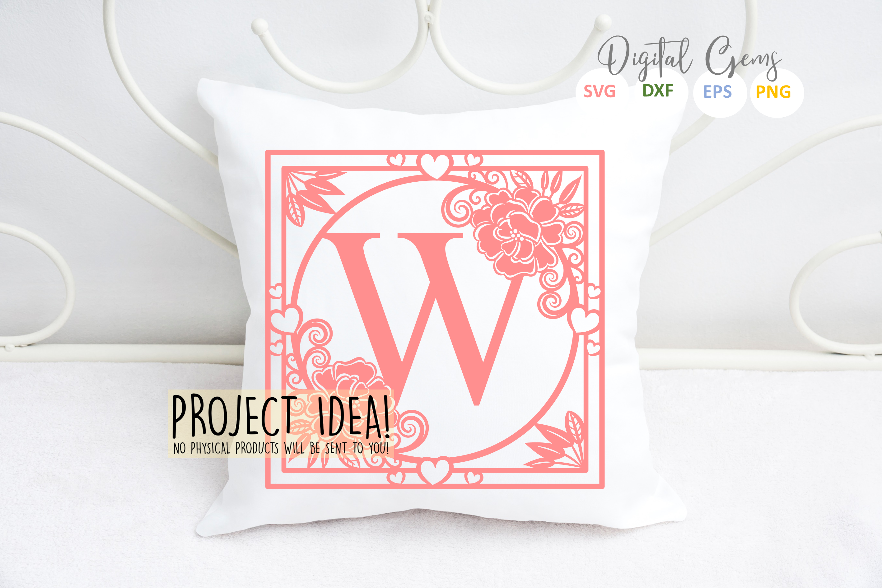 Letter W papercut design. SVG / DXF / EPS files example image 2